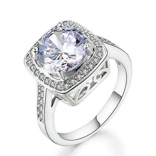 Cubic Zirconium Stone (Ritzy Glam Cubic Zirconia Platinum Plated Ring | Stunning Crystal Clear April Birthstone in Platinum Halo Setting with 28 CZ Stones | Nickel-Free, Anti-Allergy, Round Cut Fashion Jewelry for Women (7))