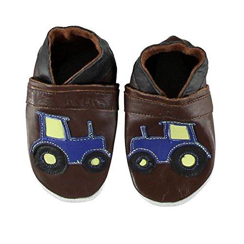 CELAVI bebé niños piel patucos unidad lernschuhe Zapatillas Tractor marrón marrón marrón Talla:27/28 EU