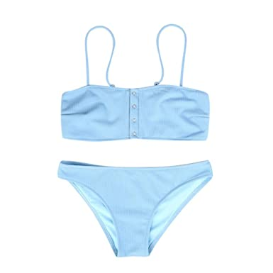 a676d7b426 Amazon.com: Swimsuit for Women Two Pieces Bandeau Solid Bikini Sets Cute Beachwear  Bathing Suit: Clothing