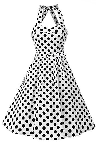 Topdress Women's Vintage Polka Audrey Dress 1950s Halter Retro Cocktail Dress White Dot S