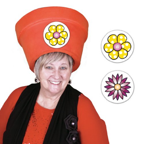 Lol Lidz Halloween Costume Ideas Women - Simple and Unique Floral Pot Head Hat Sticker Combo ()