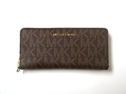 Michael Kors Jet Set Leather Large Zip Around Travel Wallet Brown Acorn by Michael Kors