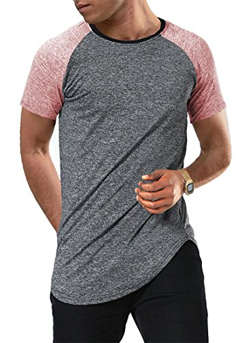 Tee Sleeve Baseball Short Hem (Moomphya Men's Short Sleeve Raglan Jersey Shirt Hipster Hip Hop Basic Swag Curved Hem Baseball T Shirt (Medium, Short Red Sleeve))