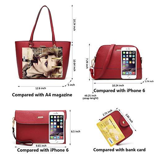 Satchel Handle Bag Handbags Purse Tote ELIMPAUL 4pcs Bag Set Red Women Shoulder Fashion Top ScfgBw8zqg