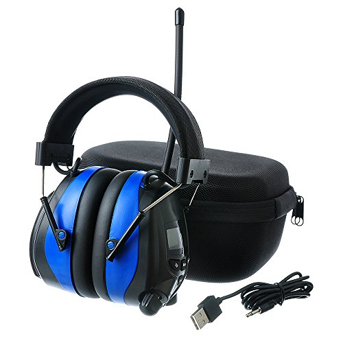 PROTEAR AM FM Headphones Bluetooth Rechargeable NRR 25dB Noise Reduction Safety Earmuffs for Lawn Mowing Ourside Work,with a Carrying Case