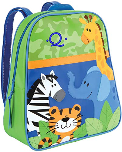 Monogrammed Stephen Joseph Boy Zoo Go Go Backpack, with Blue Embroidered Initial Q ()