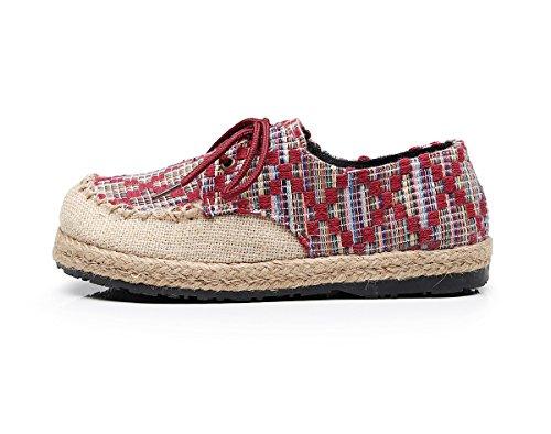 Cordones Rojo para de Lazutom Lino Mujer Zapatos de qgTnE8
