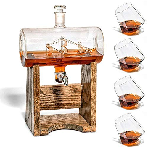 AUZZO HOME Whisky Decanter Set, 1000ML Crystal Whiskey Carafe Decanter with 4×300ml Tasting Tumblers for Drinking Scotch Bourbon Randy Rum - Alcohol - Tumbler Set Westland
