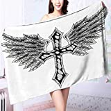 PRUNUS Luxury Elegant Bath Towels Collection Heraldic Wing and Cross Christ and Christian Fable Feathers Faith King Heraldic Luxury Hotel & Spa Towel