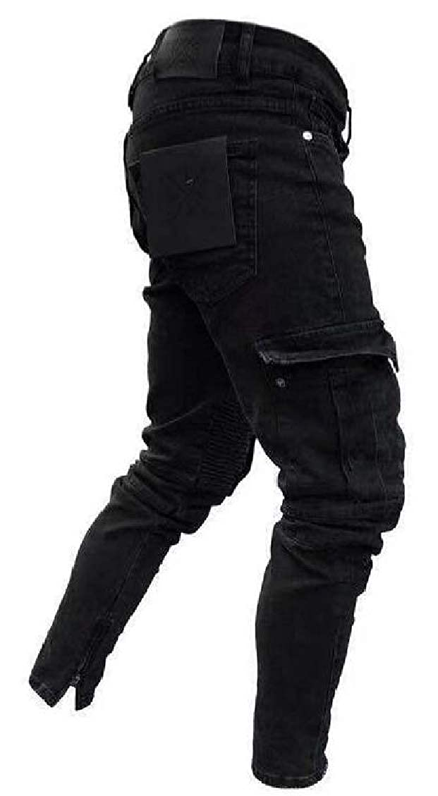 Mens Destroyed Military Style Gym Pleat Multi-Pocket Stretch Denim Pants Jeans