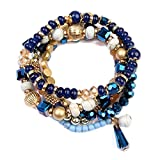 RIAH FASHION Women's Multi Beaded Stretch Bracelet Set (Navy)
