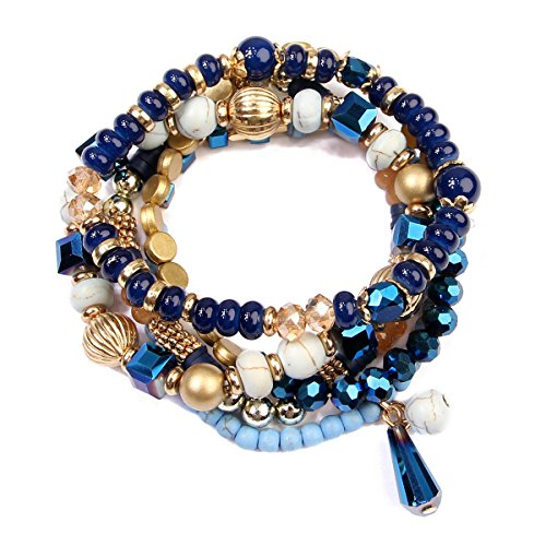 RIAH FASHION Women's Multi Beaded Stretch Bracelet Set - Stretch Blue Beaded Bracelet
