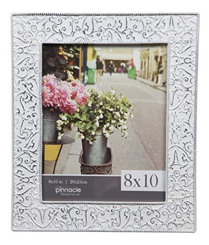 Pinnacle Frames and Accents 8x10 Embossed Metal Tin Distressed White Tabletop Picture Frame, ()