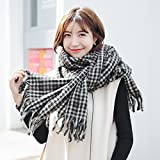 HOMEE Female Winter Scarf Plaid Scarf Scarf Thickening Students Warm,Black