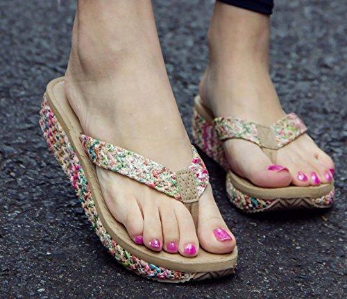AWXJX Tongs Femme Chaussures été Usure extérieure fond épais talon haut bord de mer pincée Pink 7.5 US/38 EU/5 UK Beige4.5cm IAgHOS