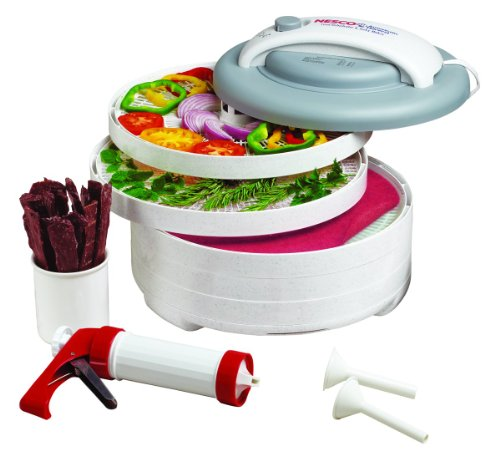 - NESCO FD-61WHC, Snackmaster Express Food Dehydrator All-in-One Kit with Jerky Gun, White, 500 watts