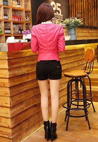 Court Manche Smile YKK Mode Pastque Veste Faux Longue Femme Rouge Automne Blouson Manteau Cuir Moto x0Zwqx