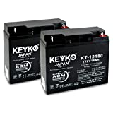 E-Wheels EW-36 Mobility Scooter 12V 18Ah SLA Sealed Lead Acid AGM Rechargeable Replacement Battery Genuine KEYKO (W/ L1 Nut & Bolt Terminal) - 2 Pack