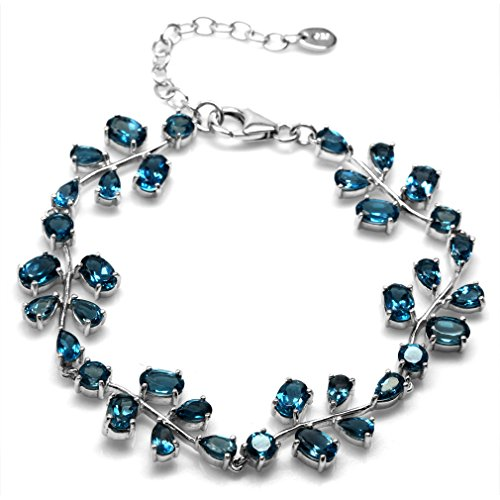 12.3ct. Genuine London Blue Topaz 925 Sterling Silver Leaf 6.75-8.25 Inch Adjustable Bracelet -