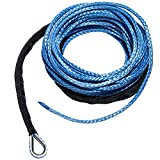 Yoursme Nylon Synthetic Winch Cable Rope with Sheath for SUV ATV UTV Winches Truck Boat Ramsey Car 1/4'' x 50'-7500LB+ Blue