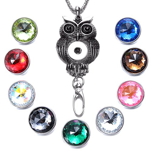 Soleebee 34.3 inches Office Lanyard Snap Button Jewelry ID Badge Holder Necklace Bonus 9pcs Facets Crystal Glass Snap Buttons (Retro Owl)
