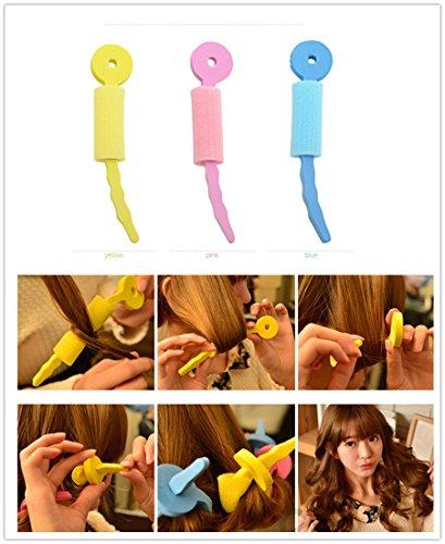 FASCHI 3Pc Magic Soft Sponge Foam Sticks Rollers Circle Spiral Plastic Hair Curly Curler Curl Roll R…