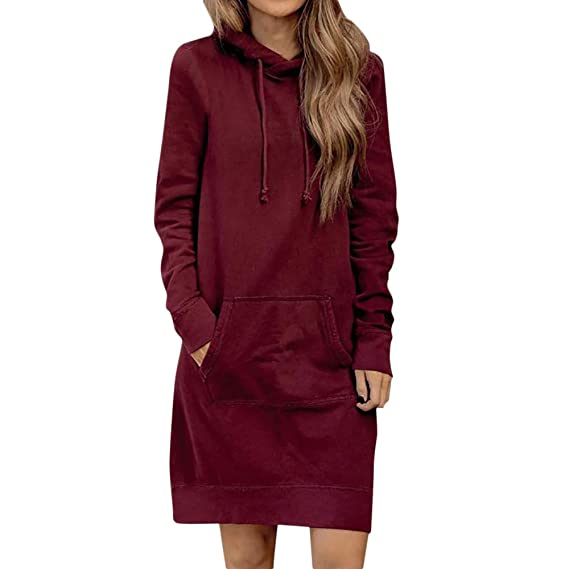 Womens Dresses, Venfamo Long Pullover Long Sleeve Hoodie Dress Loose Pure Color Mini Dress Kangaroo Pocket at Amazon Womens Clothing store: