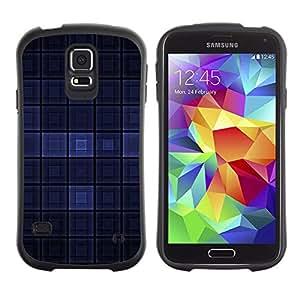 Suave TPU Caso Carcasa de Caucho Funda para Samsung Galaxy S5 SM-G900 / Blue Dark Modern Wallpaper Checkered Square / STRONG