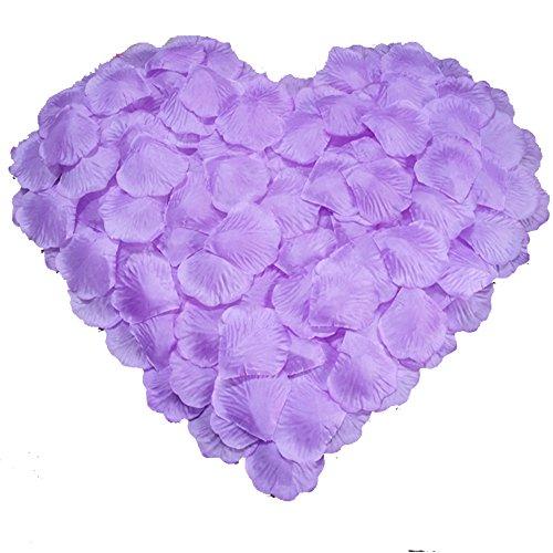 DALAMODA 1000pcs Silk Rose Petals Bouquet Artificial Flower Wedding Party Aisle Decor Tabl Scatters Confett (Purple #3) (Lavender Bouquet Rose)