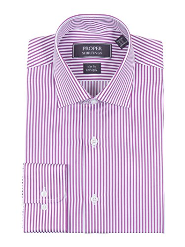 (Estee Lauder Slim Fit Orchid Pink Striped Spread Collar 2 Ply Cotton Dress Shirt)