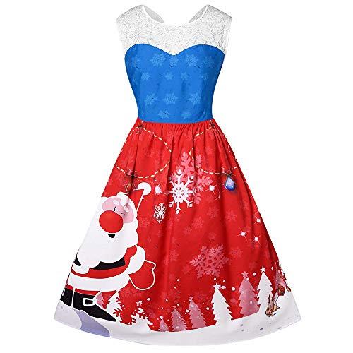 HYIRI Xmas Christmas temperamentWomen's Long Sleeve Christmas Dress Digital Printed Maxi Dresses
