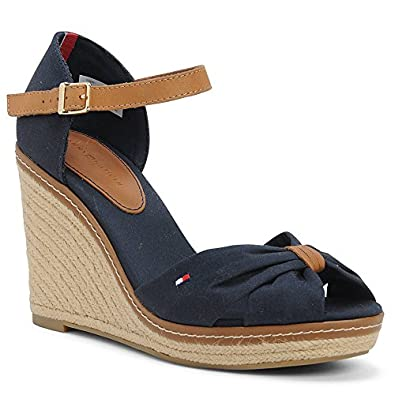 cdea278a5ba8 Tommy Hilfiger Emery 54d Canvas Wedge Sandal In Navy  Amazon.co.uk  Shoes    Bags