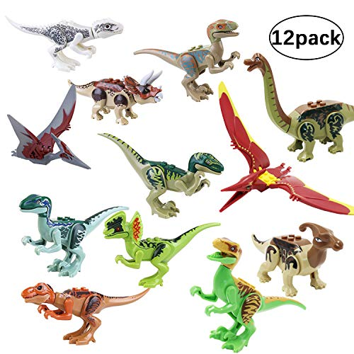 THS8 Jurassic World Toys,Dino Building Blocks,Dinosaur Figure Building Blocks,Dinosaur Building Blocks Miniature Action Figures,12 pcs Great Gift Party (Dinosaur)