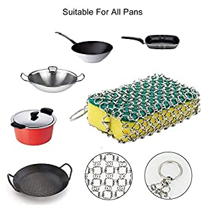 Cast Iron Cleaner 9 Packs XL 7 x 7 316L Stainless Steel Chainmail Scrubber for Skillets Cast Iron Pan With Silicone Hot Handle Holder+2 x Pan Scraper+2 x Grill Scraper+Kitchen Towel