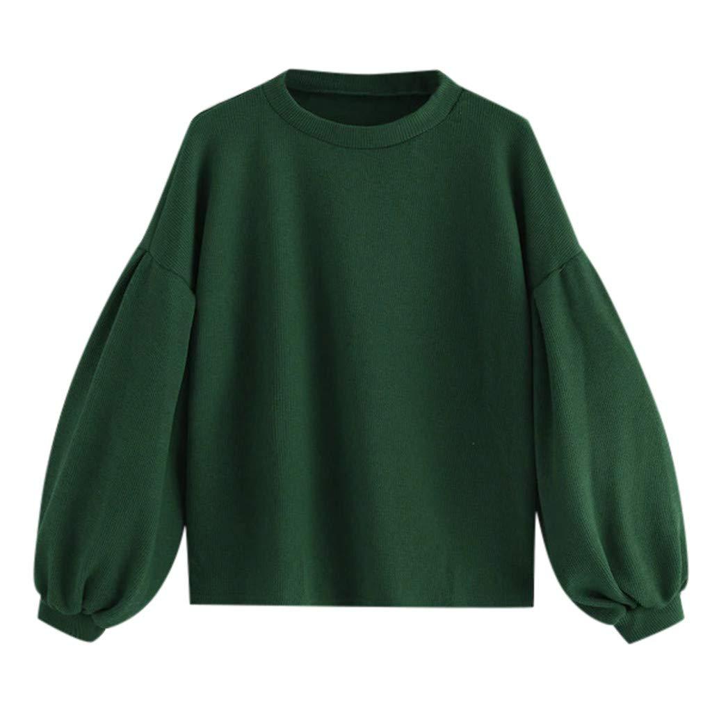 Women's Loose Sweatshirt Crew Neck Oversized Sweaters Lantern Sleeve Pullover Tops (Green, M) by Jieou