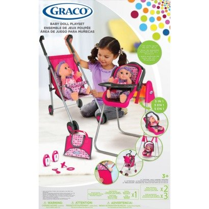 Graco Deluxe 5-In-1 Baby Doll Accessory Playset: 13 Pc. with Stroller, High Chair, Baby Swing, Travel Seat, Rear-Facing Stroller Seat, Front Carrier and Accessories for 16-18