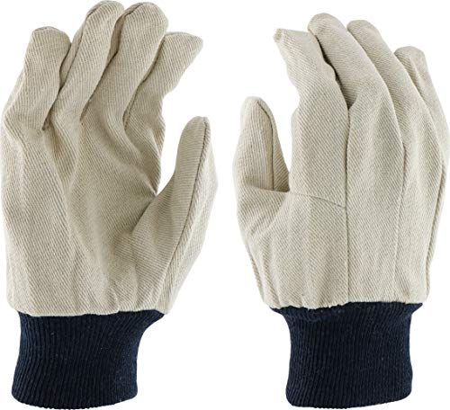 Poly Cotton Canvas Gloves - West Chester 710BKWK Cotton Poly Canvas Gloves with Navy Blue Knit Cuff, 10 oz, Large, White (Pack of 12)