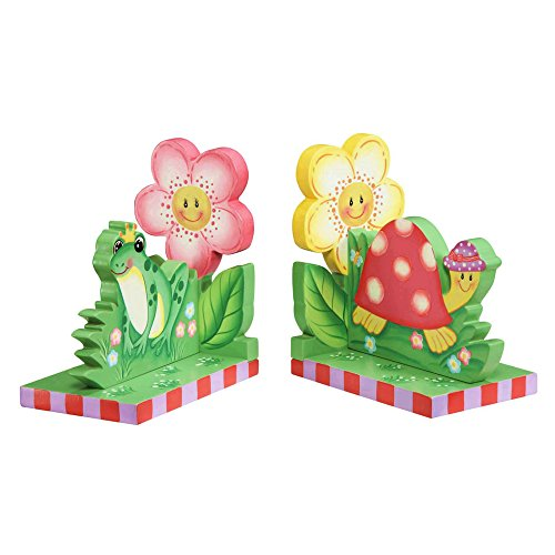 - Fantasy Fields - Magic Garden Thematic Set of 2 Wooden Bookends for Kids | Imagination Inspiring Hand Crafted & Hand Painted Details   Non-Toxic, Lead Free Water-based Paint