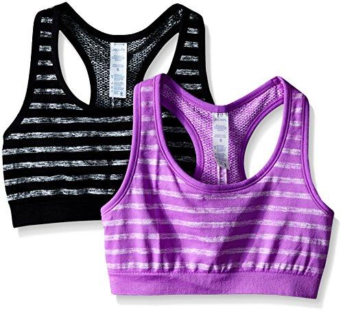Jockey Women's 2 Pack Reversible Tonal Space Dye Seam Free Sport Bra, Black/Purple, Large