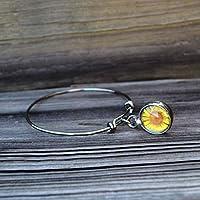 Bangle Bracelet, Handmade Sunflower Stretch Charm Bracelets, Real Pressed Flower Jewelry, Adjustable Stack Bangles for Women