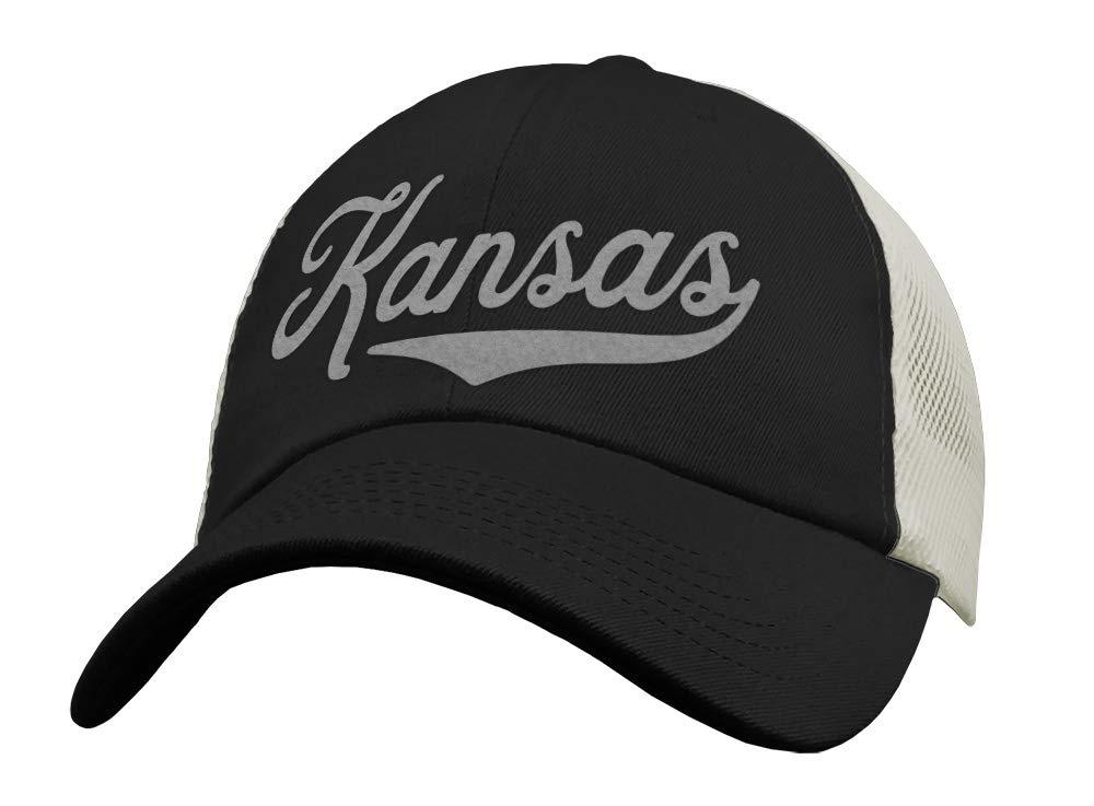 Sports Snapback Mesh Low Profile Unstructured State of Kansas Trucker Hat Baseball Cap USA