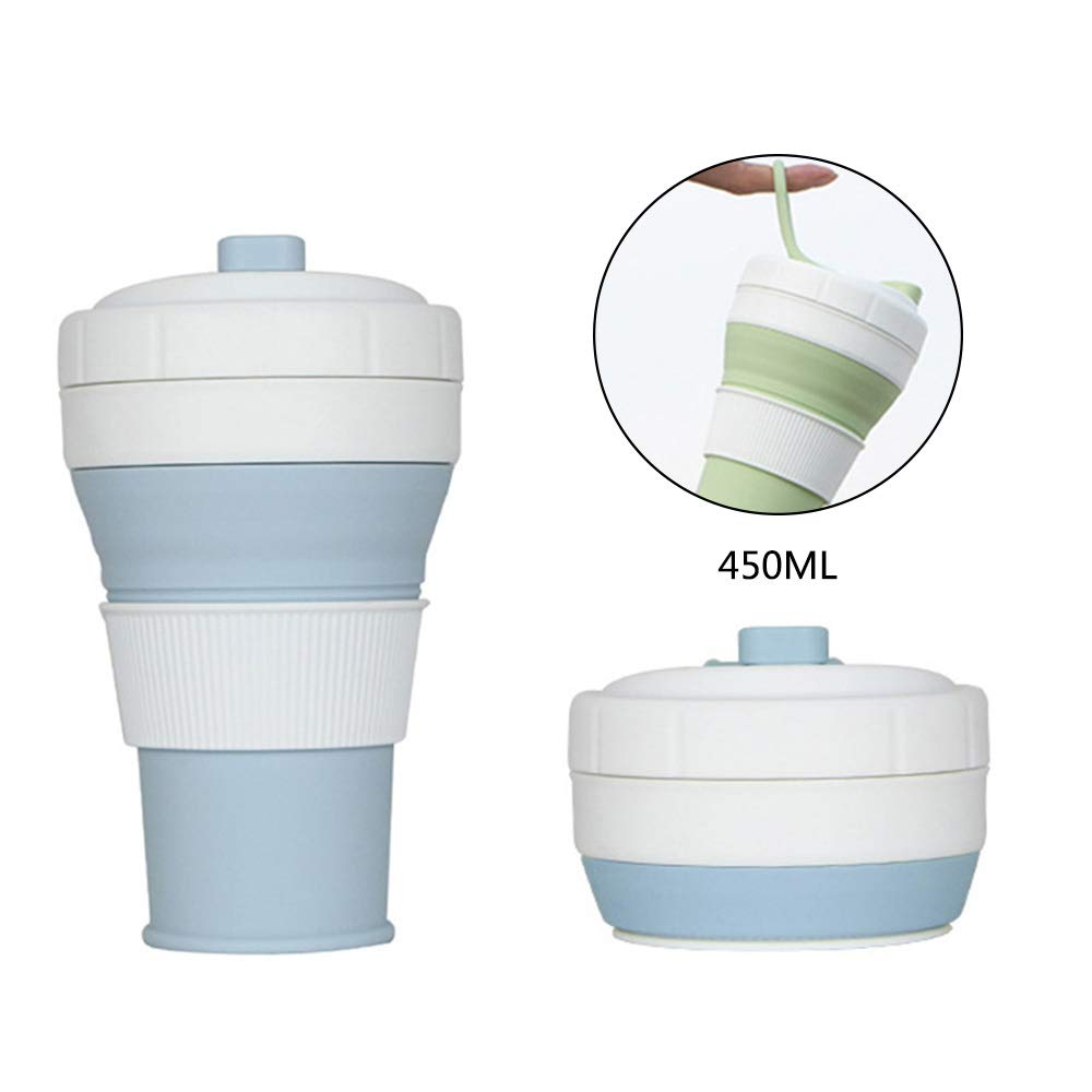 Collapsible Coffee Cup, Leegoal BPA Free Silicone Foldable Mug Portable Travel Cup with Lid, Drinking Water Coffee Tea Snacks for Hiking Camping Picnic Trip Commuting to Work Office Home Use, 16oz