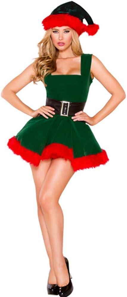 Mona43Henry Disfraz De Duende Navideño Para Mujer Vestido De Navidad Para Adultos