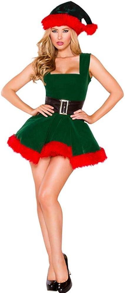 Mona43Henry Disfraz De Duende Navideño Para Mujer Vestido De ...