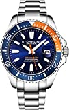 Stuhrling Original Watches for Men - Pro Diver Watch - Sports Watch for Men with Screw Down Crown for 330 Ft. of Water Resistance - Analog Dial, Quartz Movement (Blue/Orange)