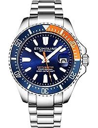Stuhrling - Reloj deportivo para hombre con corona de rosca para resistencia al agua, esfera analógica, movimiento de cuarzo, Azul/Naranja
