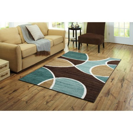 Better Homes and Gardens Geo Wave Printed Nylon Rug (5'x7', Blue/Brown) from Better Homes & Gardens
