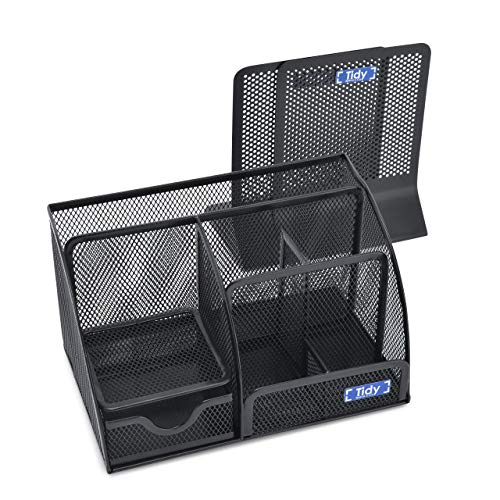 Mesh Desk Organizer with Bookends for Shelves 3 Piece Set 6 Compartments, Sliding Drawer Tray Home/Office, Dorm, Work Organization Accessories Desktop and Book Storage Black Photo #5