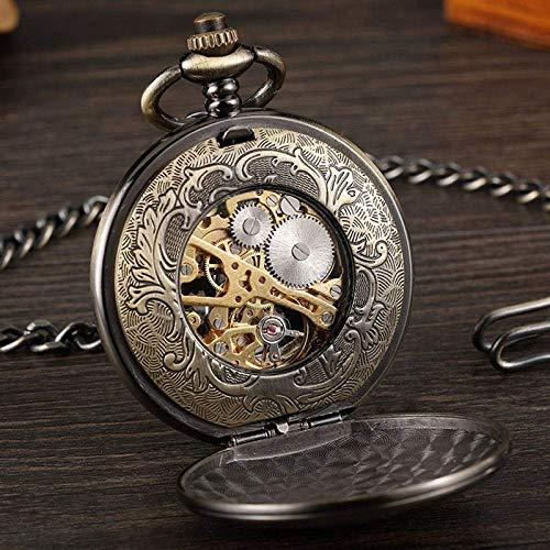 YGB fickur, hjul dubbelsidig ihålig hand vind mekanisk svart brons steampunk vintage hänge kedja retro gåvor födelsedag jul