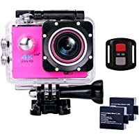 Sports Action Camera Ultra HD Waterproof DV Camcorder 4K WIFI Cam 1080P 170 Degree Wide Angle with Remote Pink